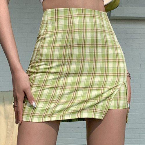 Korean Colored Plaid Skirt Women 2020 Student Chic Short Skirts Fashion Sexy Mini Skirts Spring Summer Female Skirts