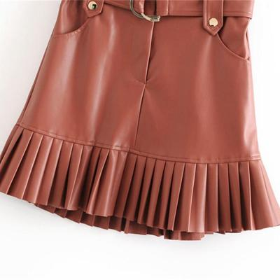 New fashion trend of autumn women's wear in 2020 small pleated imitation leather mini-step cake skirt