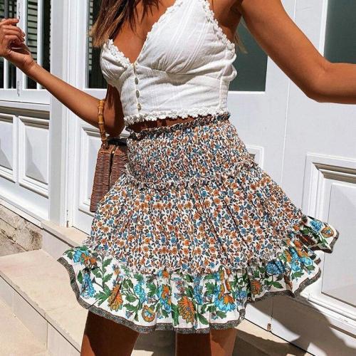 Bohemian floral print mini skirt women 2020 summer beach holiday short skirt high waist ruffle elastic A-line skirts vintage
