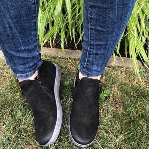 Female Platform Comfort Footwear Sneakers Women Zipper Suede Flat Shoe Ladies Fashion Sewing Woman Casual Vulcanized Shoes