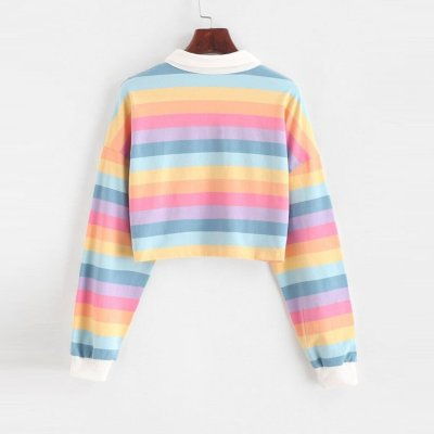Rainbow Stripe Patchwork Long Sleeve Sweatshirt Contrast Womens Turn Down Collar Pullover College Style Girl Button Short Tops#F