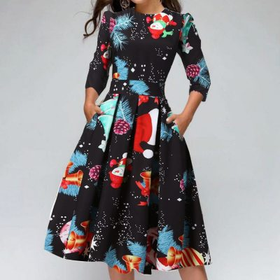 Black Big Swing Print Vintage Christmas Dress Women Winter Casual Long Sleeve O Neck Sexy New Year Party Hight Waist Dress