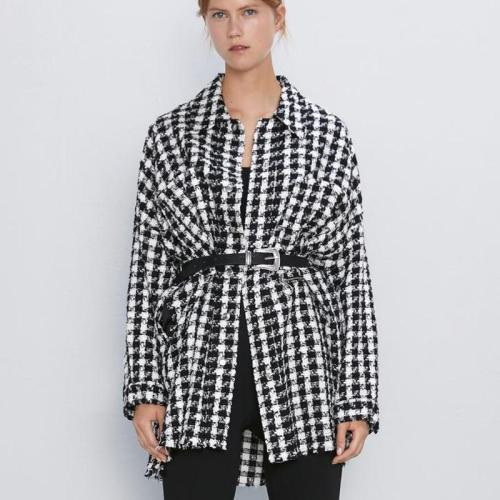Fandy Lokar Houndstooth Jackets Women Fashion Pockets Coats Women Elegant Long Sleeve Zipper Jackets Female Ladies HAA