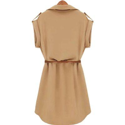 Women Casual Summer Shirt Dress Summer Dress 2020 Loose Short Sleeve Dress With Belt Turn Down Collar Autumn Dress Vestidos #20