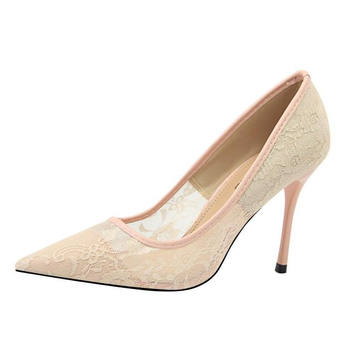 2019 New Elegant Lace Women Pumps High Heels Transparent Flower Lace Wedding Shoes Women Pointed Toe Sexy Party Shoes G0068