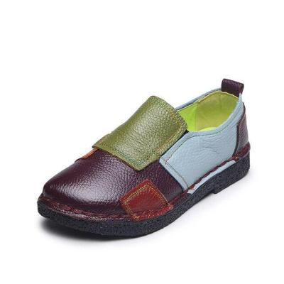 plardin Women Genuine Leather Loafers Mixed Colors Ladies Ballet Flats Shoes Female Spring Moccasins Casual Ballerina Shoes