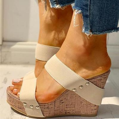 Women Slippers Home Stripe Female Summer Platform Wedge Heels Slides Ladies Woman Open Toe Shoes Footwear Sandals Plus Size 2020