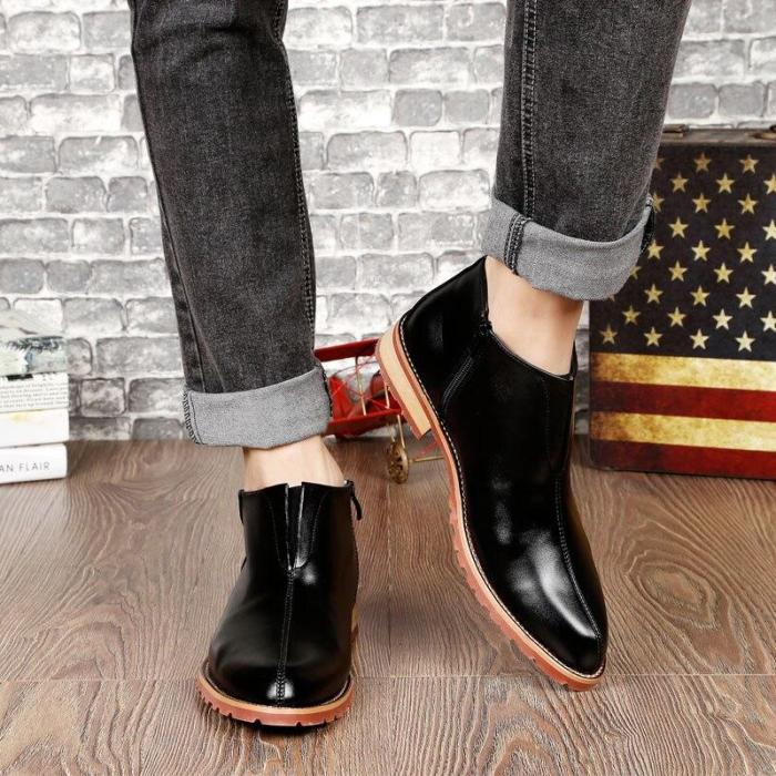 Basic Black Mid-boots Fashion velvet Increase Lace-up and Zip Ankle Mens Pointed Toe Dress Oxfords Shoes Men Dress Leather Boots