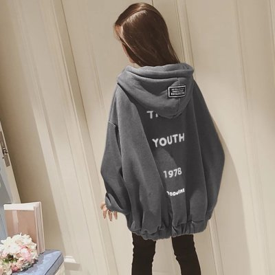 Plus Size Womens Zipper Zip Up Hoodie Loose Thickening Velvet Sweatshirt Back Letter Print Hooded Winter Tops Ropa Coreana  #F5