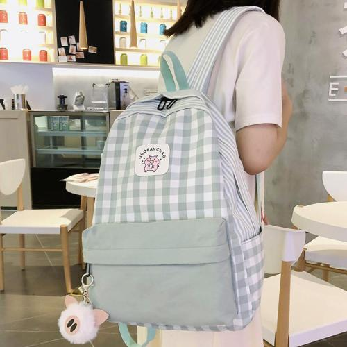 Student Female Pig Plaid Backpack Cute Women Canvas  School Bags Girl Kawaii Backpack Fashion Book Ladies Teenage Bag Luxury New