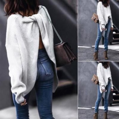 Retro Ladies Twisted Wrap Cross Back V Neck Knitted Pullover Long Sleeve Knitwear Casual Cross Pullover Sweater Jumper Tops