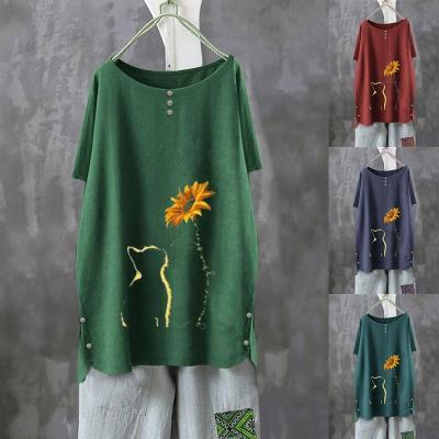 Women T-Shirt Autumn 2020 Casual Vintage Dandelion Print Butterfly Flower Long Sleeve Shirt Top Moda Poleras Mujer
