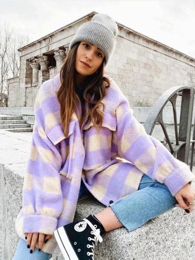 Stylish Sweet Plaid Woolen Shirt Jackets Women Fashion Pockets Turn-down Collar Check Jacket Cute Girls Chic Coat Streetwear