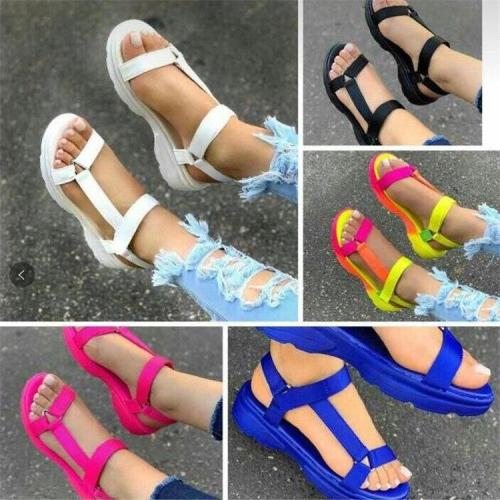 Open Toe women Sandals Platform Shoes ladies Soft Bottom Sandalias Flat Sandals Summer Comfy Beach Mid Heel Female Sandals D30