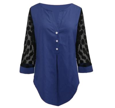Women Long Sleeve Shirt Plus Size Blouse Shirt Tops V-neck Button Splice Mesh Nine Points Sleeve Casual Loose Women Shirt