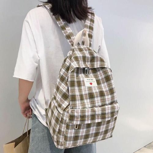 Plaid Cotton Fabric women backpack teenage girl cute backpack Student Applique casual ladies book bag school fashion 2019 female