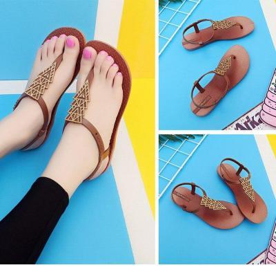Women Rome Sandals 2020 Summer Flat Shoes Woman Soft Bottom Back Strap Flats Female Fashion Beach Sandals Ladies Casual Footwear