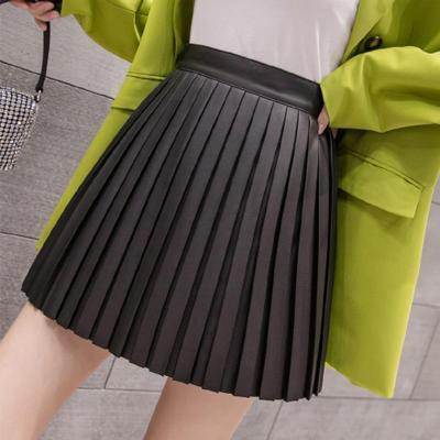 PU Leather Skirts Women Autumn Winter Mini Skirt High Waist Black Apricot Pleated Skirts Women Streetwear Zipper Vintage W286
