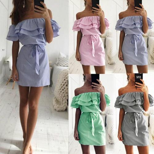 Off Shoulder Strapless Striped Ruffles Dress Women 2020 Summer Sundresses Beach Casual Shirt Short Mini Party Dresses Robe Femme