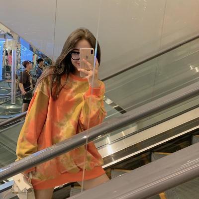 Korean Autumn New Fashion Tie-dyed Oversized O-neck Loose Long Sleeve Pullovers Hoodies Sweatshirts Fashion Streetwear 2020