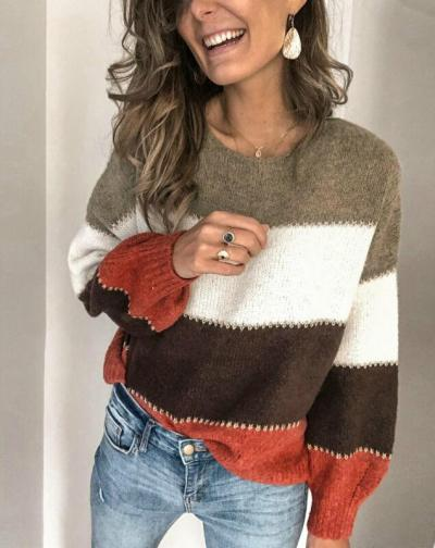 Retro Korean Fashion Ladies Full Sleeve Sweater Women Knitting Sweater Striped O-Neck Pullover And Jumper Loose Sweater Hot Sale