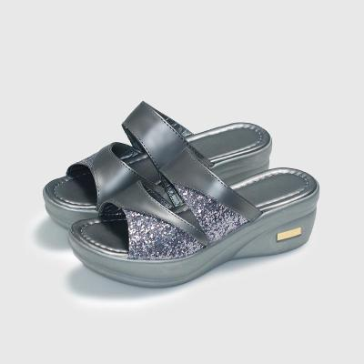 Women Slippers Summer Casual Wedges Slides 2020 Sequined Cloth Women's Bling Woman Ladies Platform Female Beach Shoes Plus Size