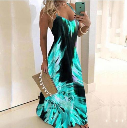 Spaghetti Strap Sleeveless Flower Print Dress Women Boho Summer Beach Dress Tunic Casual Long Dresses Female Plus Size 3XL
