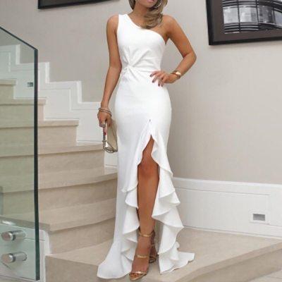 Womens Dresses One Shoulder Ruched Ruffle Formal Dress Slim club Maxi Dresses summer vestidos robe femme elegant clothes