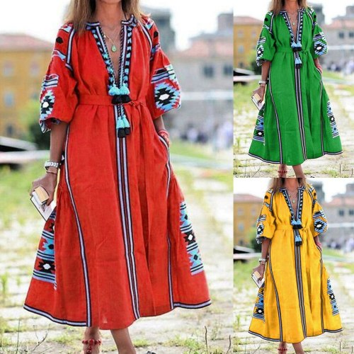 Women Bohemian dress A-Line Half sleeve print dresses Vintage Floral Printed Tassel Causal Mulitcolor patchwork loose dress 9.2