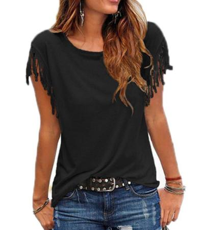Summer Tassel Casual T Shirt Female Vest Women O-neck Top Female T Shirt Short Sleeve T-shirt Woman T-shirt Top Tees