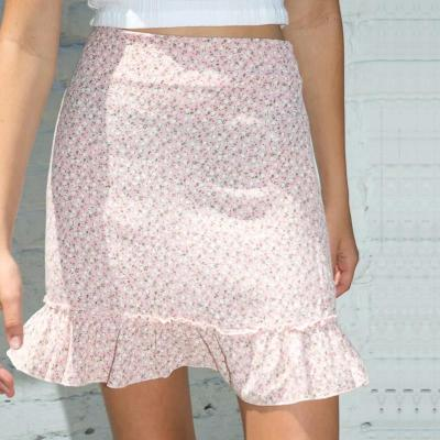 High waist ruffle short skirt women 2020 summer vintage cara mini skirt retro floral pink skirt zipper casual A-Line skirt girl