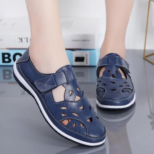 Women Rome Sandals Split Leather Soft Bottom Summer Shoes Woman Casual Flat Sandals Cut-out Ladies Sandalias Plus Size SH072301