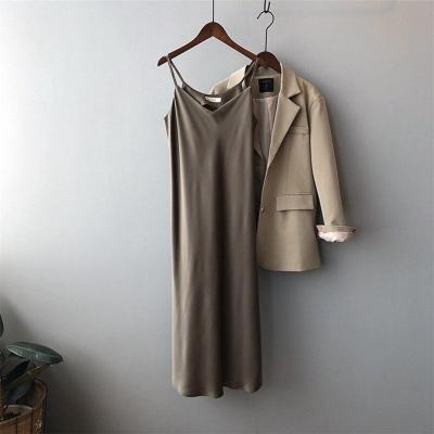 New Arrival Women V-Neck Sleeveless Women Dress Y5702 Vintage Satin Summer Long Dress Boho Elegant Women Casual Dress Vestidos
