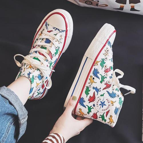 Girls Canvas Shoes Dinosaur High Up Sneakers Cartoon Cute Dino 2020 Autumn New Preppy Style Cool Fashion Women Casual Shoes