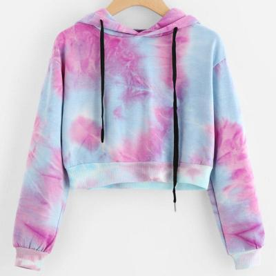 Purple Tie Dye Printing Short Hoodies Sweatshirt Women Casual Drawstring Thin Pullover Autumn Female Girl Long Sleeve Tops #Y3