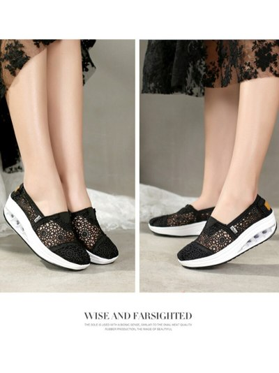 New Spring Summer Hollow Canvas Shoes Women Fashion Lace Slip on Shoes for Women Breathable Platform Shoes 2020 VT750