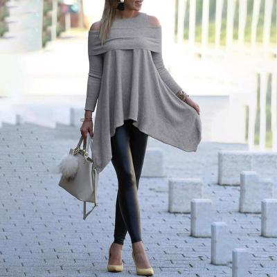winter Womens blouse Solid Long Sleeve Irregular girl Sweatshirt Loose Print Pullover Tops female Blouse