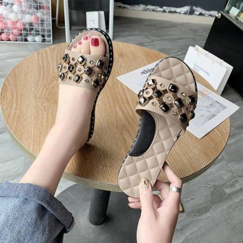 Women Summer Rhinestone Slippers Woman Transparent Colorful Ladies Flats Slides Bling New Open Toe Female Elegant Casual Shoes