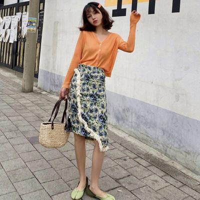 Floral Print Pencil Skirts Women Tassel High Waist Knee-Length Split Zipper Korean Elegant Office Lady A-Line Summer Skirt W524