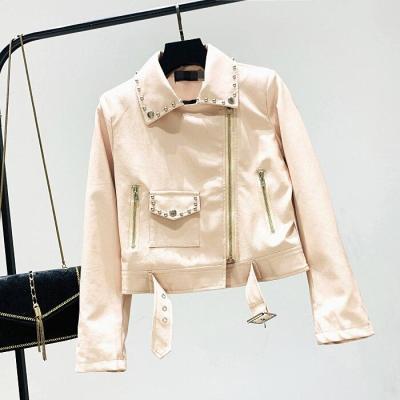 Autumn and Winter European Women New Turn Down Collar Rivet Zipper Locomotive PU Leather Short Jacket Fashion Streetwear 2020