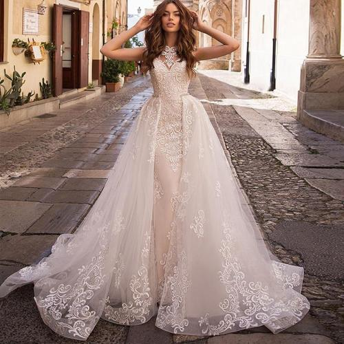 Eightree Mermaid Wedding Dress Vintage Detachable Train Lace Bridal Dresses Princess Vestido de novia Boho Wedding Gown