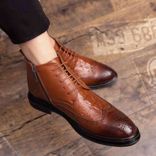 New Autumn winter Men's Dress Boots Business Men Bullock Boots Leather Men shoes Comfortable Casual Shoes