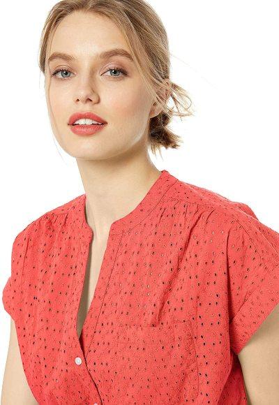 J.Crew Mercantile Women's Short-Sleeve Eyelet Camp Shirt