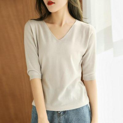 women  shirt short sleeves wool pullover short jacket V-neck soft spring autumn tops fashion knitwear
