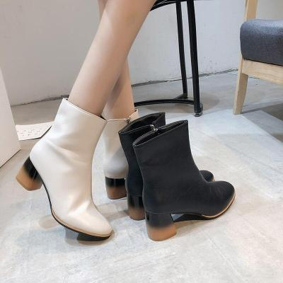 Plus Size 35-43 Women Ankle Boots 2020 Winter High Heels Boots PU Leather Botas Mujer Black Fashion Booties Martin boots N7796