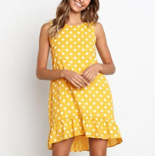 Women Polka Dot Ruffles Irregular Dress Casual O-neck Sleeveless Beach Dress Summer A-line Mini Dress Plus Size S-3XL