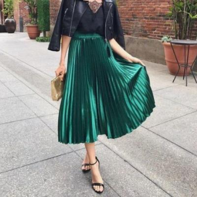 Women Lady Elastic Waist High Waist Ruffles Solid Color Maxi Skirt Pleated Retro Long Dress One Size