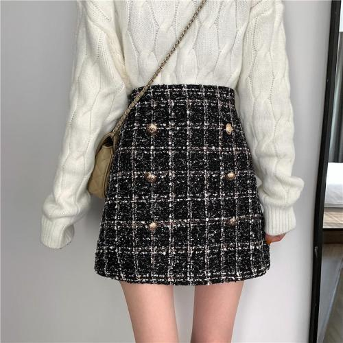 Tweed Half-length Skirt for Women In Autumn Spring 2020 New Korean White Black Chic Short Skirt with High Waist Hip