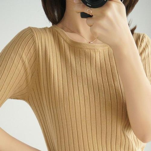women tops spring halfsleeves knitting shirt round neck soft warm basicshirt short fashion pullover striped thin jacket