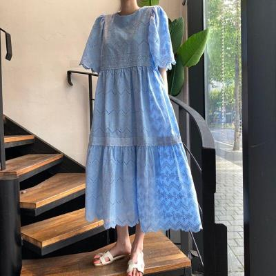 SHENGPALAE Korean Summer French Round Neck Lace Embroidered Hollow-out Pattern Bubble Sleeve Loose Short Sleeve Dress ZT1049